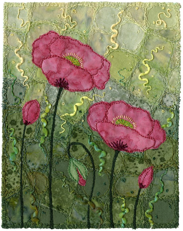 """Crazypatch background, appliqué, free-motion, couching.  For a short time, many years ago, I lived by a seaside lagoon.  These poppies were growing nearby and I fell in love with the glaucous leaves.  I decided to make the entire background the colour of the leaves.  The flowers float in an abstract sea of foliage.  5"""" x 6 ½"""" 12.5 x 16.5 cm  12"""" x 15"""" framed 30.5 x 38.5 cm framed www.chursinoff.com/kirsten/"""