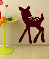 This darling decal set adds interest to a delightfully decorated bedroom or playroom. High-grade vinyl construction with a matte finish is modern and clean, yet the butterfly and fawn design is perfectly playful. All it takes is a squeegee and a pinch of patience to make these decals look like they were professionally applied.Includes two decals18.9'' W x...