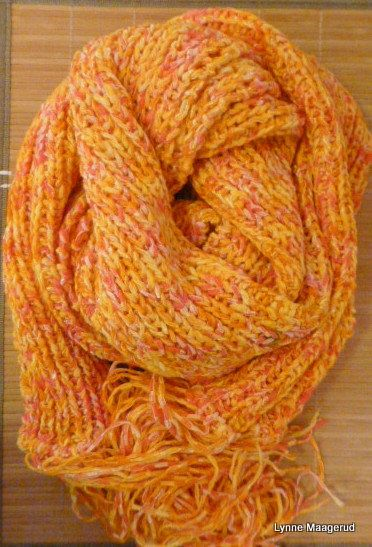 Handknitted long scarf in yellow woolmix by LynnesEbooks on Etsy