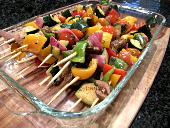 Grilled Herb Marinated Veggie Skewers!  Great on the grill or broiled or roasted in the oven!