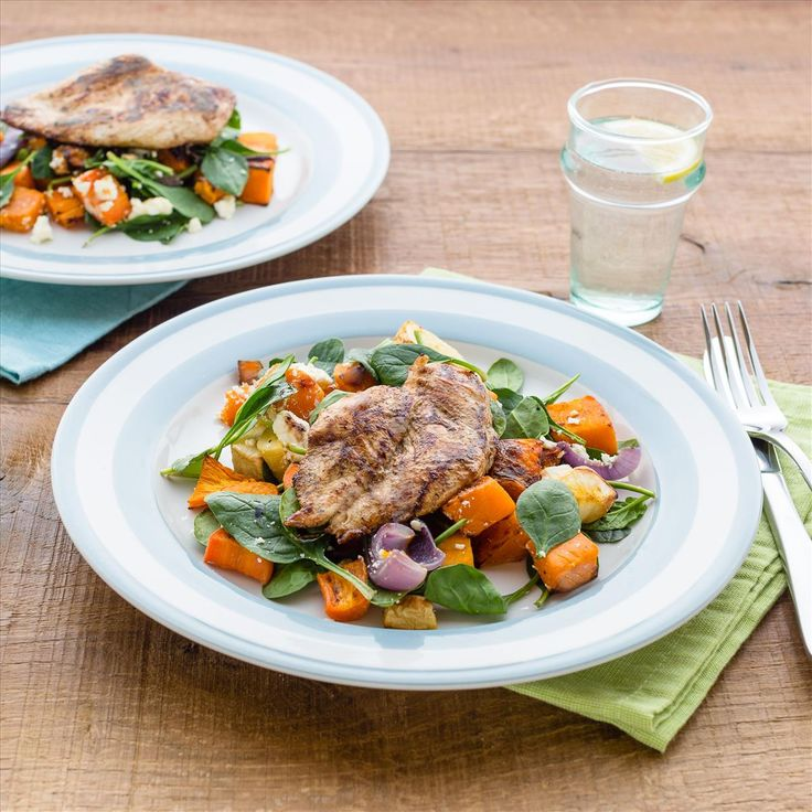 Balsamic Chicken with Roasted Winter Vegetables and Feta