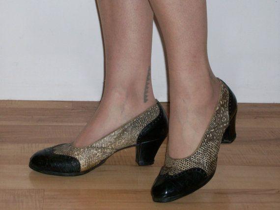 Dapper 1930s two tone spectator shoes w/ lizard by ukcharmvintage