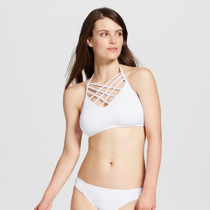 Women's Strappy Front Halter Bikini Top - White - D/DD - Mossimo