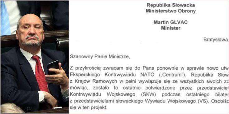 Ostry list ministra obrony Słowacji do ministra Antoniego Macierewicza w sprawie ostatnich wydarzeń w Centrum Kontrwywiadu NATO.
