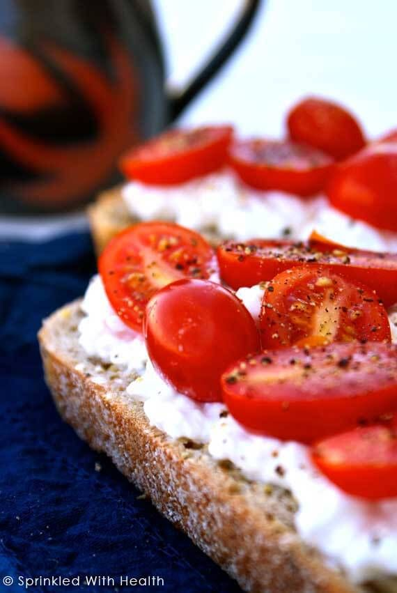 Top slices of toast with cottage cheese, cherry tomatoes, and salt and pepper. This quick, savory breakfast will leave you satisfied for hours.