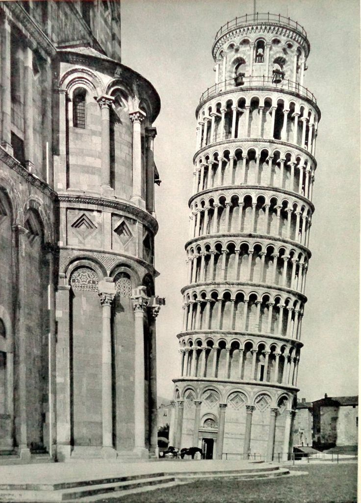 50s Original Pisa Campanile Bell Tower Print, Vintage Pisa, Pisa Leaning Tower, Vintage Pisa Print, Romanesque Cathedral, Vintage Italy, Art by MushkaVintage3 on Etsy