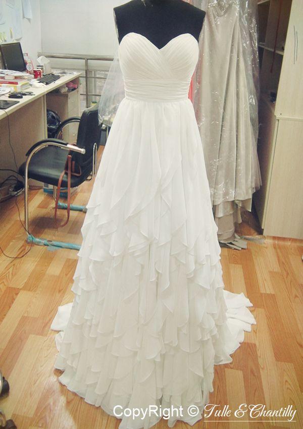 Chffion Ruffled Bridal Dress