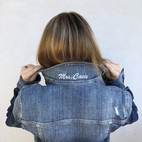 Mrs Popped Collar Custom Embroidered Denim Jacket Bride Jean Etsy Embroidery Jeans Jacket Denim Jacket Personalized Jacket