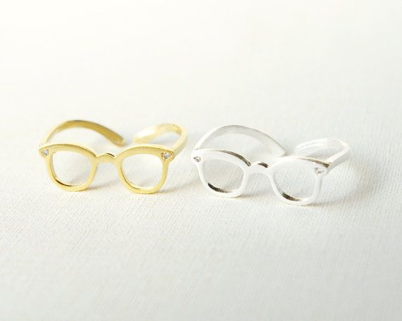 Gold/ Silver CZ Glasses Ring Knuckle Ring Midi Ring by bkandjio, $10.80