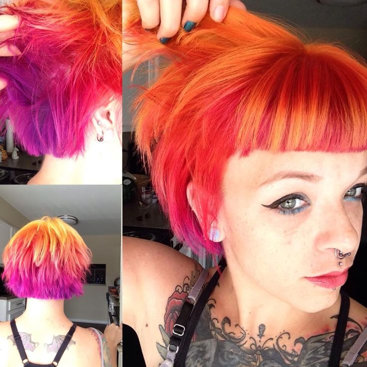 """Fiery sunset hair. I made this firey sunset using Ion Neon """"Canteloupe"""" and """"Blood Orange"""" as well as Manic Panic """"Hot Hot Pink"""" and """"Ultraviolet"""