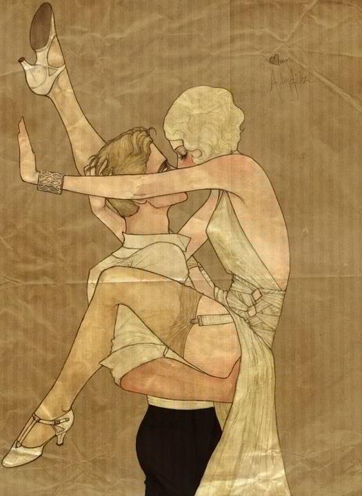 Art Deco Illustration :: underpinnings :: hose :: garter ::