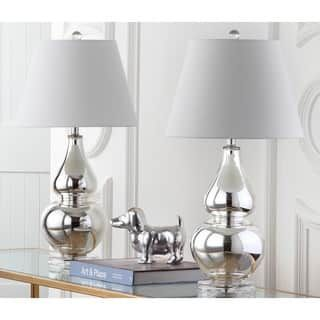 Safavieh Lighting 26.5-inch Cybil Double Gourd Silver Table Lamps (Set of 2)