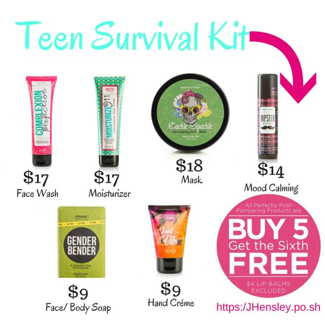 Teen Survival Kit of Perfectly Posh products, great for all ages and skin types. https://beckymichel.po.sh