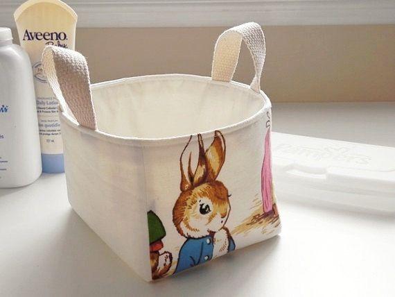 "Diaper Caddy - Peter Rabbit Nursery - Fabric Storage Basket, Bin - New Baby Gift - Boy, Girl - Beatrix Potter - 7"" x 5"" x 4.5""h"