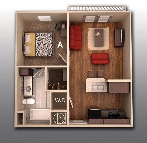 El apartamento de la universidad no tiene que sentirse como un armario.  Aquí, 530 pies cuadrados se ve preciosa con maderas duras modernas, con mobiliario sencillo, espacio para lavadora y secadora, y baño cómodamente tamaño.