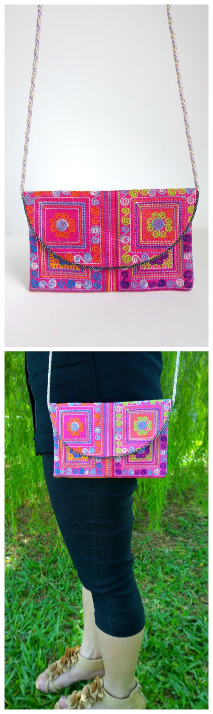 Tribal Crossbody Bag - boho gypsy bag - hmong ethnic bag ( FREE SHIPPING WORLDWIDE )