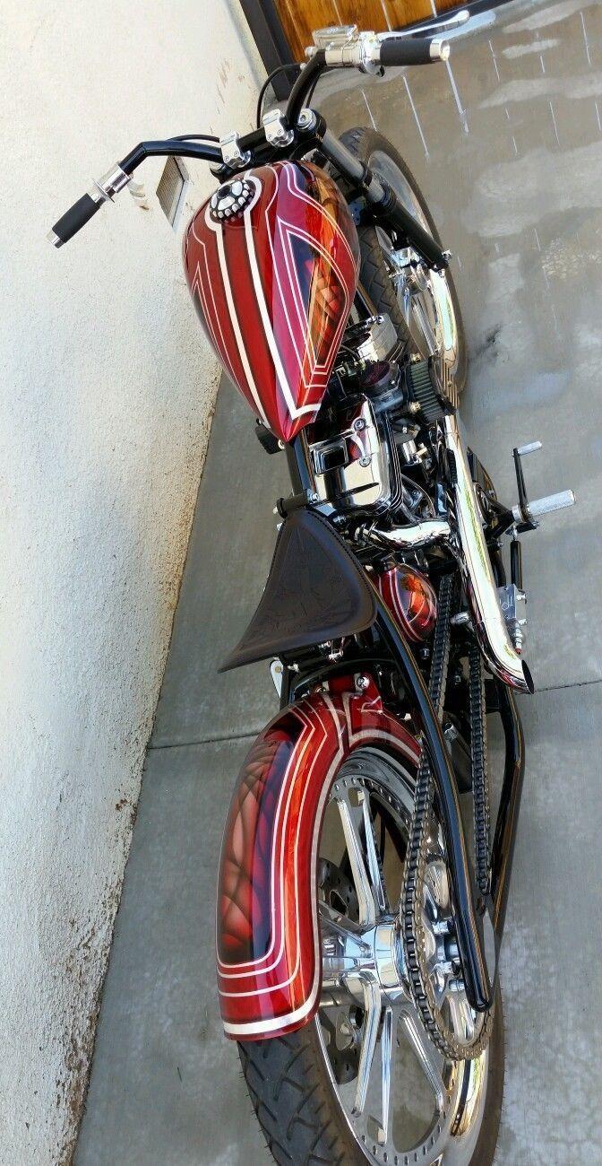 Complete Custom Harley Davidson Sportster Tracker Frame Made By Chassis Design Company Vin Number