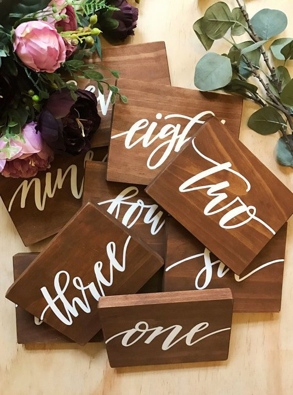 Wedding table number signs  Rustic table by willowandinkdesign Willowandink Table number, rustic wedding, wood sign, festival wedding, modern wedding, boho wedding, welcome sign, engagement sign, hand lettering, calligraphy