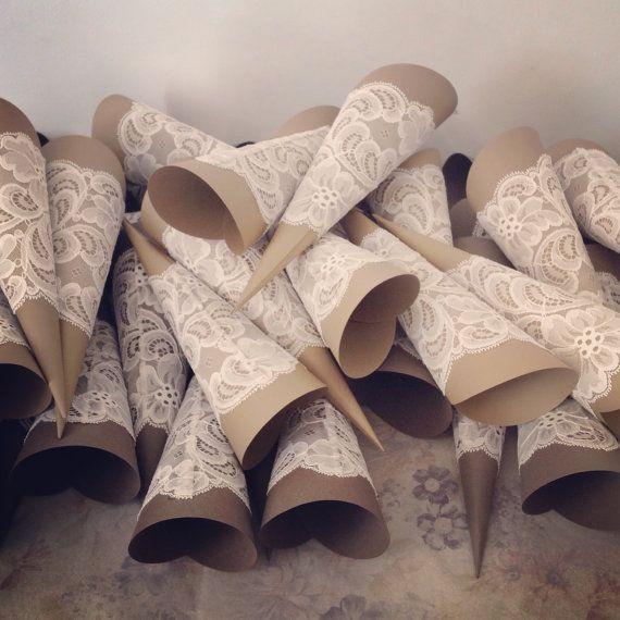 Paper Cone Rice Tossers Wedding Rice Cone di TheWeddingBirds