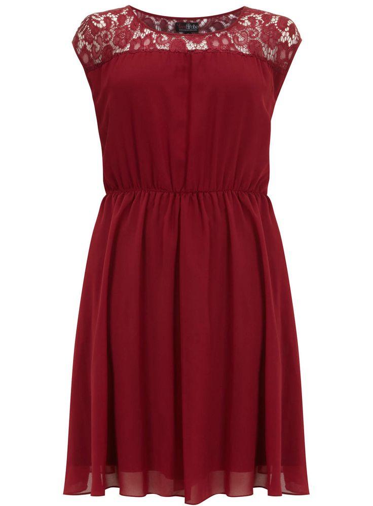 Lovedrobe Red Lace Insert Skater Dress