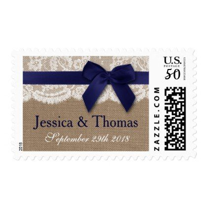 Navy Ribbon On Burlap & Lace Wedding Postage - lace wedding ideas marriage diy cyo customize special