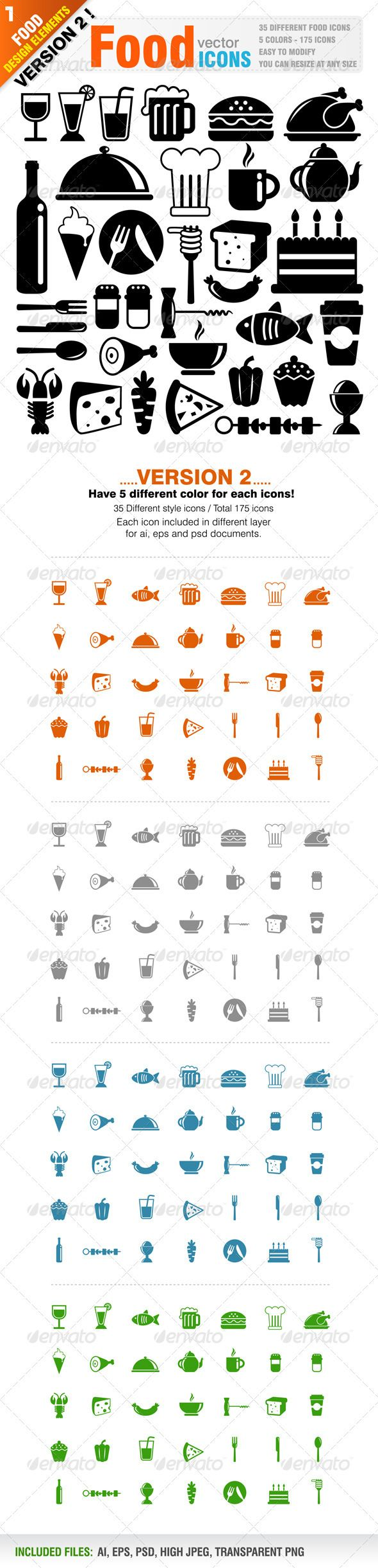 Food Icons — Photoshop PSD #chicken #burger • Available here → https://graphicriver.net/item/food-icons/1300723?ref=pxcr