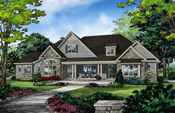 This remarkable craftsman design has a side entry three for Craftsman house plans with side entry garage