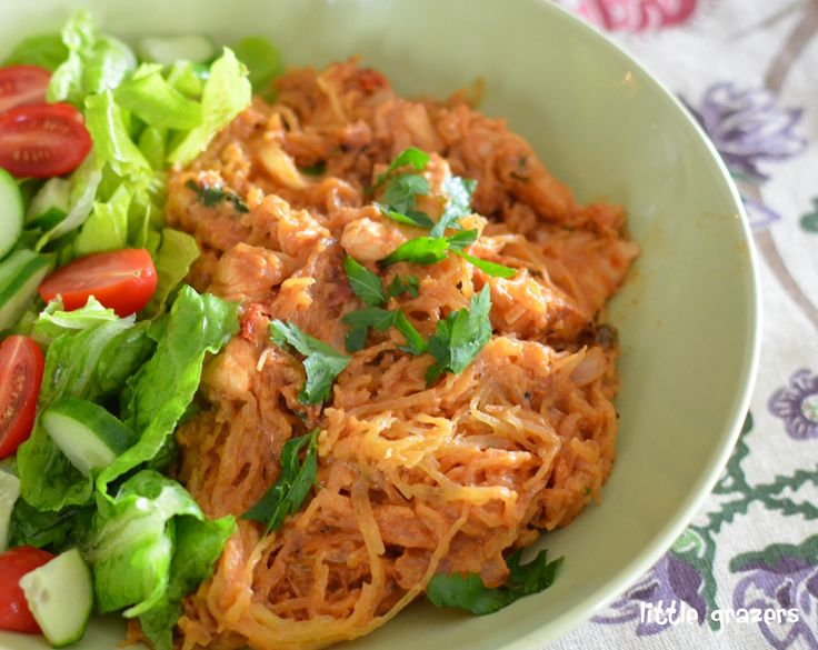 Chicken and Spaghetti Squash with a Creamy Sun-Dried Tomato Sauce