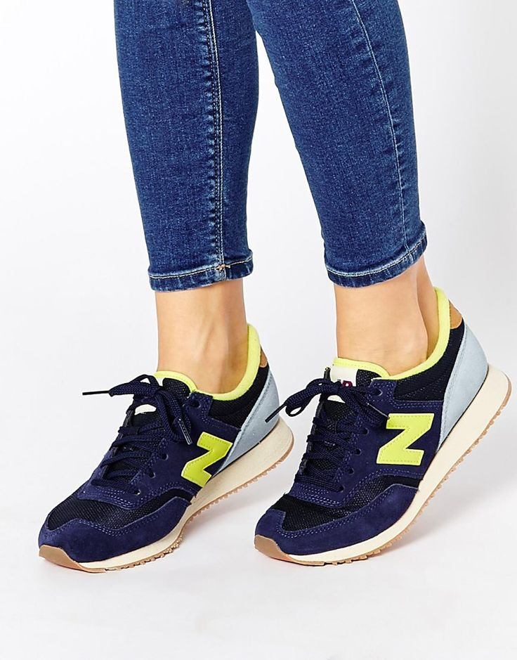 Image 1 of New Balance 620 Navy & Yellow Suede Mesh Trainers