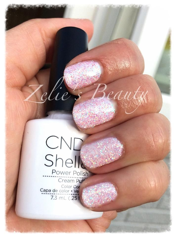 We think these are simply stunning by Zélie Gordon‎ (on Facebook) using #CNDshellac Cream Puff Shellac with #lecente confetti #glitter #lovelecente