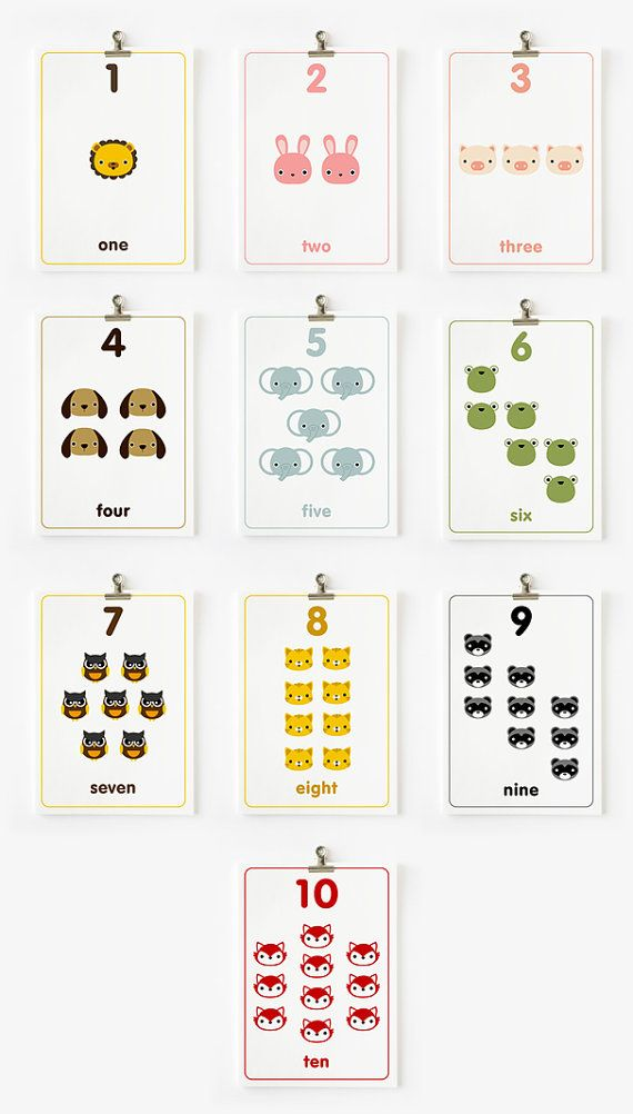 Children Decor Count the Numbers Flashcards 1-10 in English / French ...