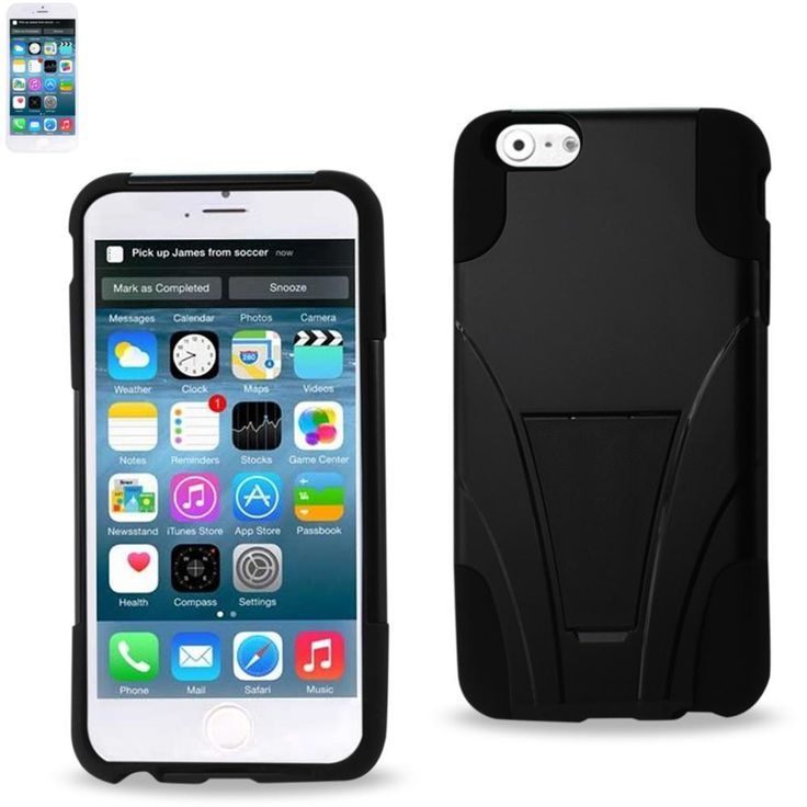 Reiko Silicon Case+Protector Cover For Iphone 6-6S Plus 5.5Inch New Type Kickstand Black