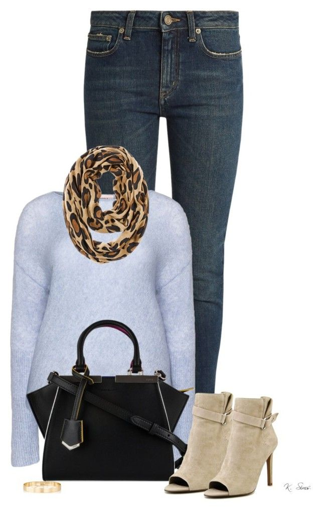 """Leopard Scarf"" by ksims-1 ❤ liked on Polyvore featuring Yves Saint Laurent, Chico's, Fendi, BCBGeneration and Jules Smith"