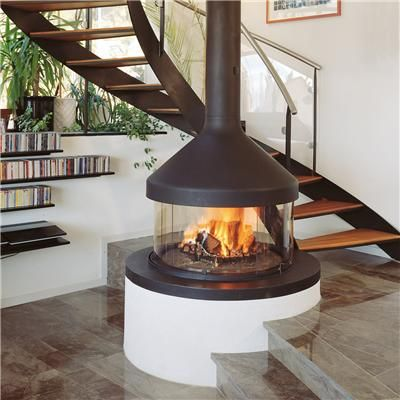 Open Middle Of Room Wood Stove Circular Freestanding