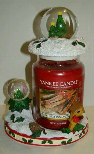 Yankee Candle Christmas Trees Snow Globe Topper Jar Candle Holder Free SHIP