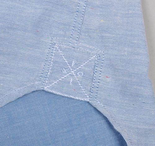 Textile, fabric, denim, reinforcement, shirt, stitched, detail, branding, label