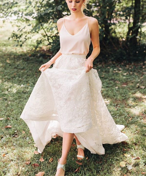 Lovely  Gorgeous Two Piece Wedding Dresses That Aren ut Crop Tops