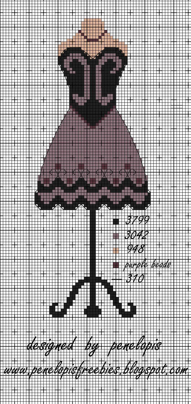 Penelopis' cross stitch freebies: dress / dress