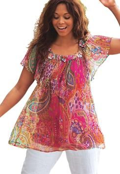 Plus Size Embellished Paisley Blouse
