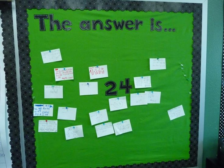 """Higher level thinking - """"The Answer Is..."""" bulletin board (a great math closer!)"""