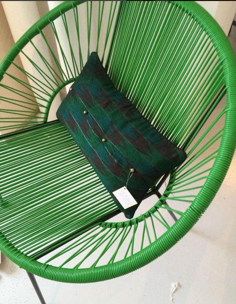 Coussin Dhaka vert