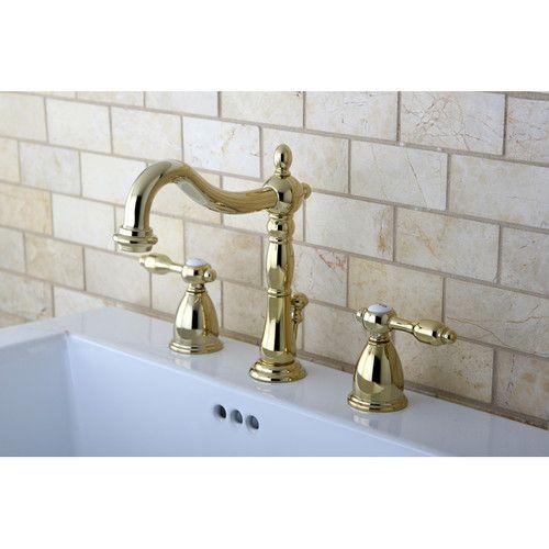 Tudor Double Handle Widespread Bathroom Faucet with ABS Pop-Up Drain | Wayfair $247
