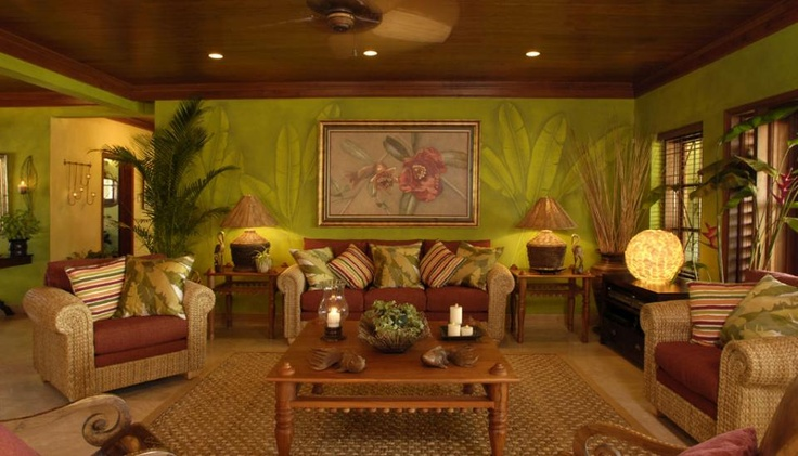 tropical living room-plants as wallpaper design