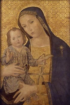 Antoniazzo Romano (born Antonio di Benedetto Aquilo degli Aquili, ca.1430 - deceased April 17, 1508, in Rome):  Madonna and Child with Bird  (ca. 1495-1500 (531×800))