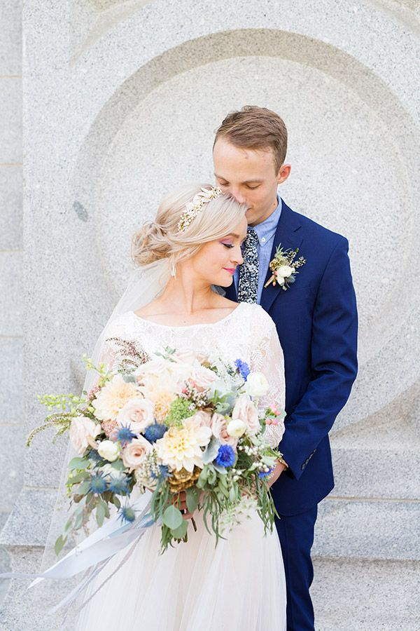 Cassie + Blake Salt Lake Temple Wedding. Photo by Emilie Ann Photography, Gown by The Mary's Bridal, Florals by L Floral Studio #utahvalleybride #saltlaketemple #ldstemple #utahwedding
