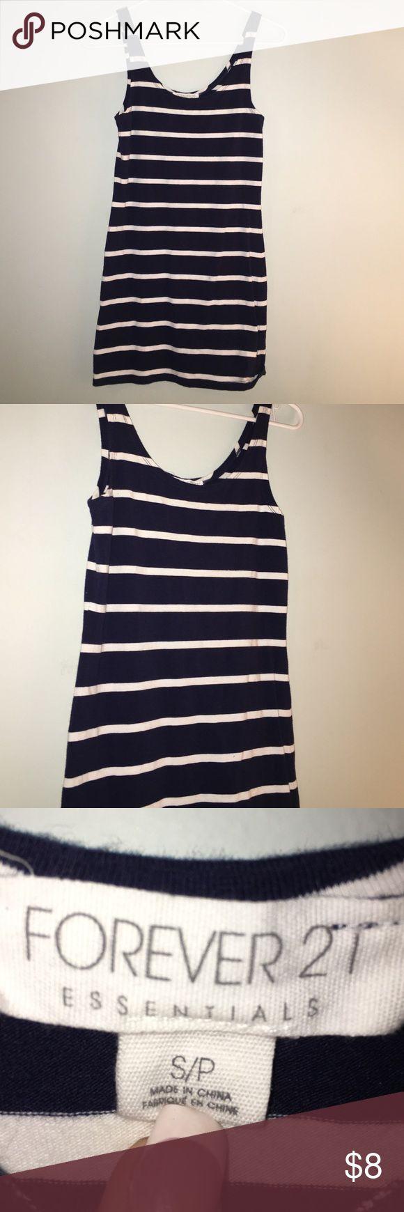 Forever 21 Striped Mini Dress Forever 21, dark blue dress, white stripes , very comfortable Forever 21 Dresses Mini