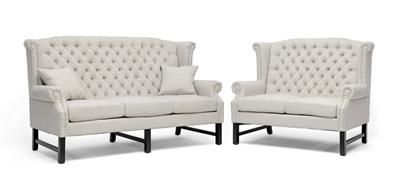 Baxton Studio Sussex Beige Linen Sofa Set | couch and loveseat | sofa sets Price:$1,322.00