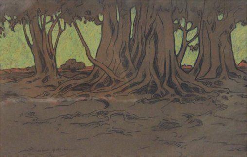 Landscape Pastel Artist   ... . JH Pierneef – 46 x 71 – pastel – 'Landscape with Trees