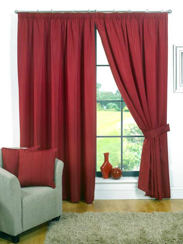 Clayton Red Pencil Pleat Curtains  From £23.20