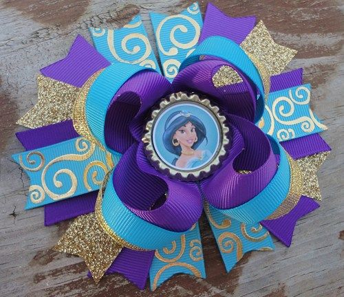 Princess Jasmine Inspired 5 Inch Stacked Boutique Bow                                                                                                                                                                                 More
